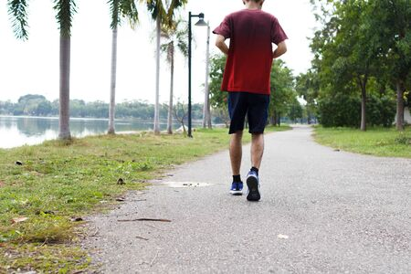 The sport man running in the morning. workout concept. Stock fotó