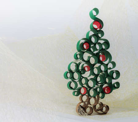 christmas tree from curled  paper strip photo