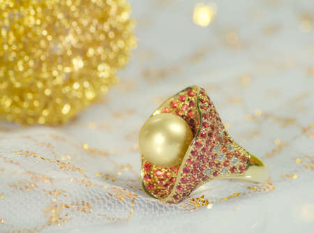 golden southseas pearl ring with rubin n diamond photo