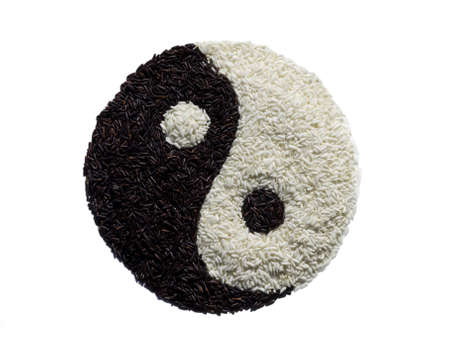 Yin Yang made from black and white rice photo