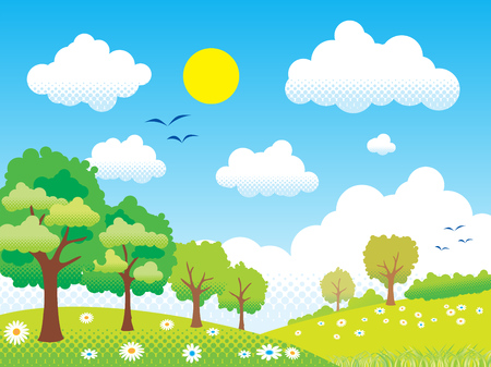 landscape sky hill vector illustration background half one shadow technique Ilustrace
