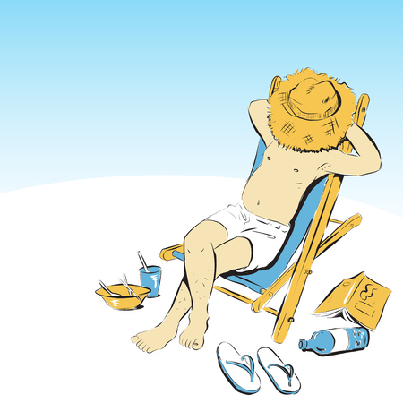 man relax on beach bed doodle style vector illustration