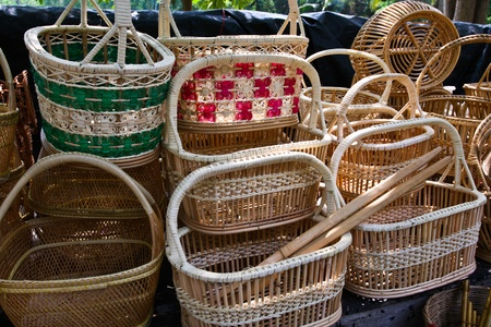 rattan: Basket of rattan. Product of Thailand Editorial