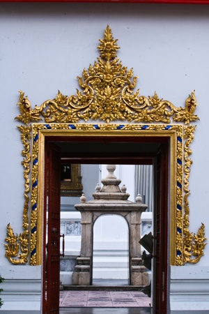 Buddhist monastery window , bangkok Thailand photo