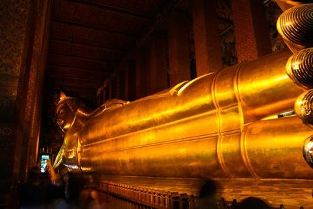 big buddha: Reclining Buddha statue in Thailand Buddha Temple Wat Pho , Asian style Buddha Art Editorial