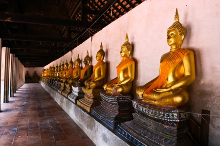 ayutthaya: Row of Sacred Buddha images in Ayutthaya, Thailand