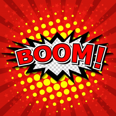 pow wow: Boom  - Comic Speech Bubble, Cartoon
