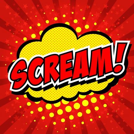 action hero: Scream  Comic Speech Bubble, Cartoon