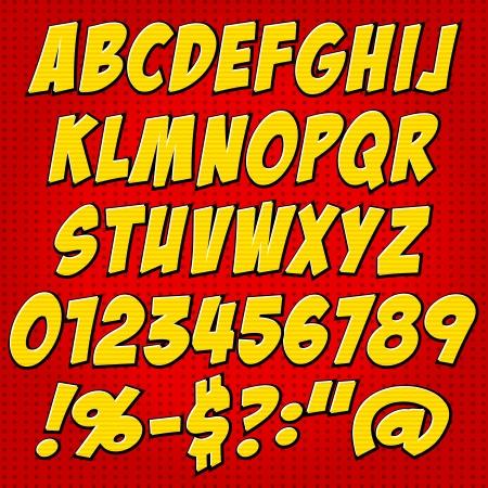 comics style alphabet collection set  Illusztráció