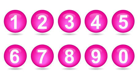 collection of numbers - Pink spheres  Vector
