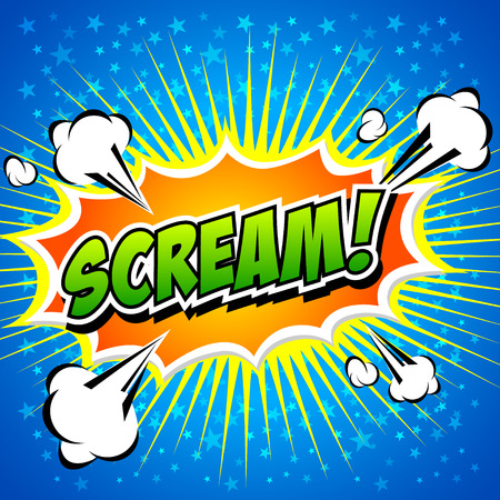 Scream  Comic Speech Bubble, Cartoon  Vector