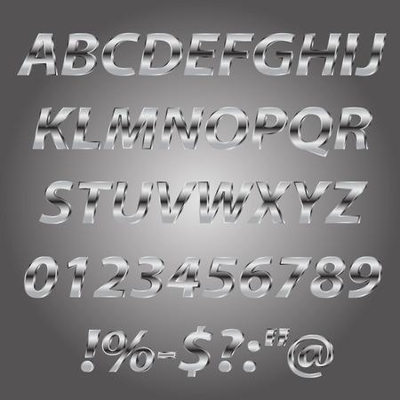 letras cromadas: Letras de metal estilo colección conjunto alfabeto Vectores