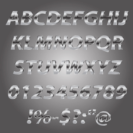 chrome letters: Metal letters style alphabet collection set Illustration