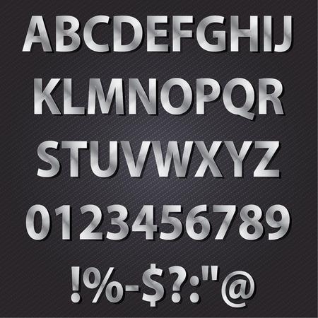 metal alphabet: Metal letters style alphabet collection set Illustration
