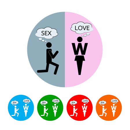 man and woman thinking about love and sex  Vector