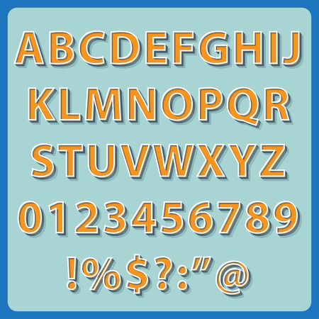 3 dimensional: Retro Text style alphabet collection set