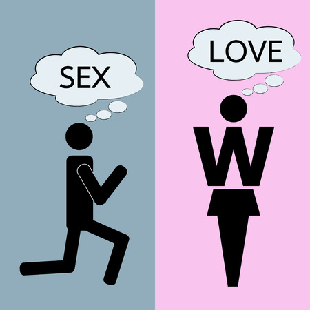 man and woman sex: man and woman thinking about love and sex