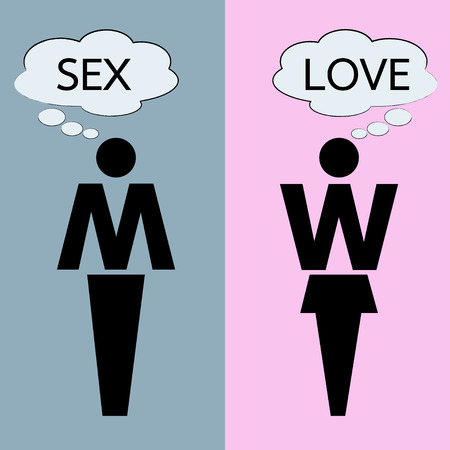 sex man: man and woman thinking about love and sex