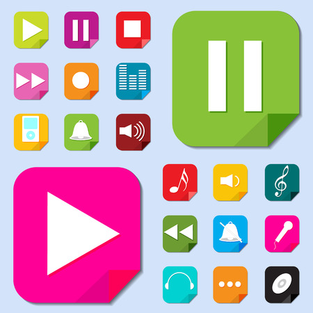 music buttons: Music icon set  Vector