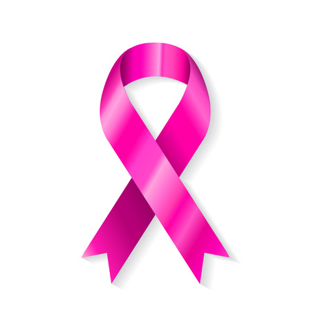 Pink ribbon isolated on white background  Vector