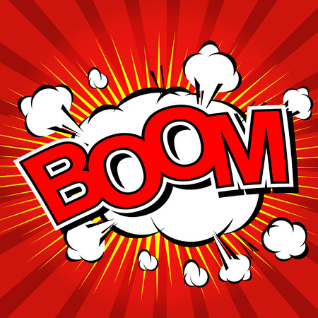 Boom  - Comic Speech Bubble, Cartoon Illustration