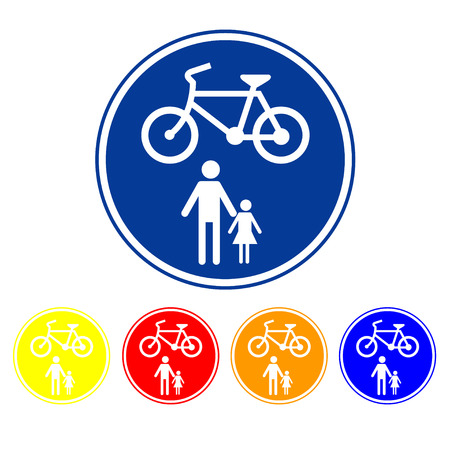bycicle: Sign allow only pedestrians and bicycles   Illustration