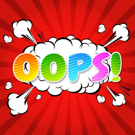 Oops  - Commic Speech Bubbel, Cartoon  Vector