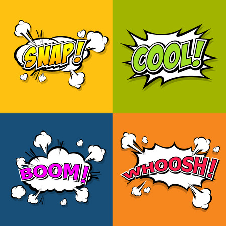 smack: Collection multicolored comic sound Effects