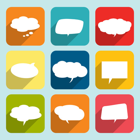 Collection of comic style white speech bubbles