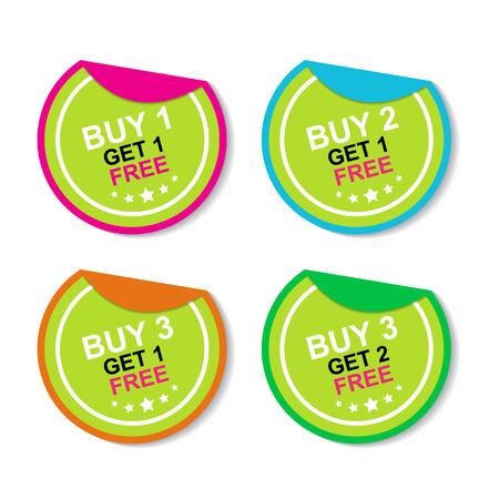 ステッカーやラベルのマーケティング キャンペーンを 1 つ買うと 1 フリー、購入 2 取得 1 無料で、3 つ買うと 1 無料、3 個買う 2 カラフルなアイコン
