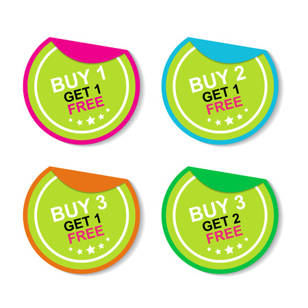Sticker or Label For Marketing Campaign, Buy 1 Get 1 Free, Buy 2 Get 1 Free, Buy 3 Get 1 Free and Buy 3 Get 2 Free With Colorful Icon