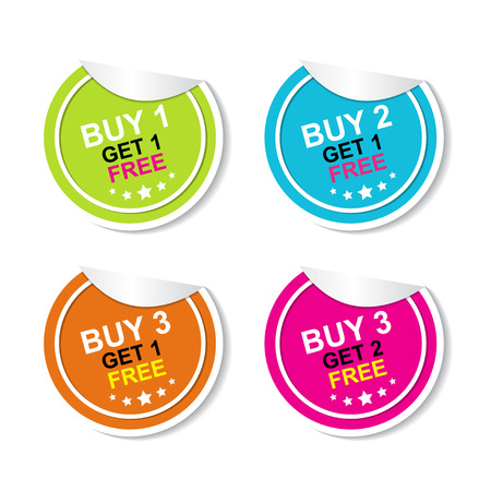 grand sale icon: Sticker or Label For Marketing Campaign, Buy 1 Get 1 Free, Buy 2 Get 1 Free, Buy 3 Get 1 Free and Buy 3 Get 2 Free With Colorful Icon