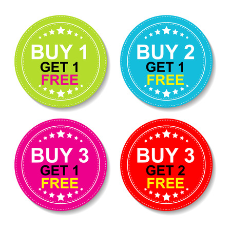 Autocollant ou étiquette pour une campagne de marketing, Achetez 1 obtenez 1 gratuit, 2 Achetés 1 gratuit, Buy 3 Get 1 gratuit et Achetez 3 obtenez 2 gratuits Avec Icône Colorful