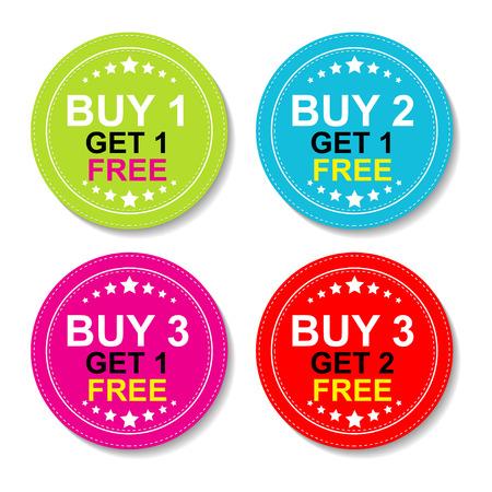 Sticker of label voor marketing campagne, Koop 1 Get 1 gratis, Koop 2 Get 1 gratis, Koop 3 krijgt 1 gratis en Koop 3 krijgt 2 gratis Met Kleurrijke Icoon