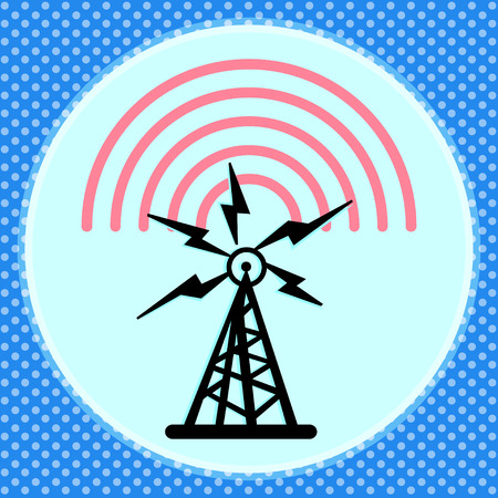 data transmission: On this illustration a tower is represented radio with radio