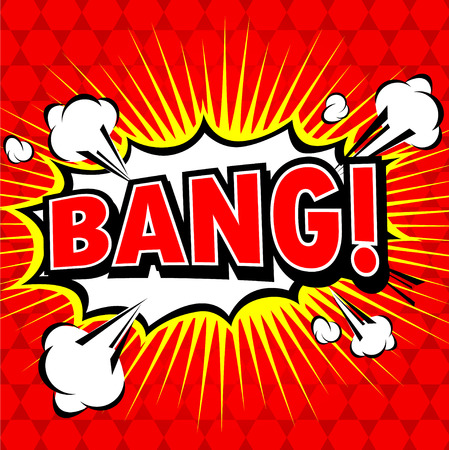 bomb explosion: Bang! Comic Speech Bubble, Cartoon.