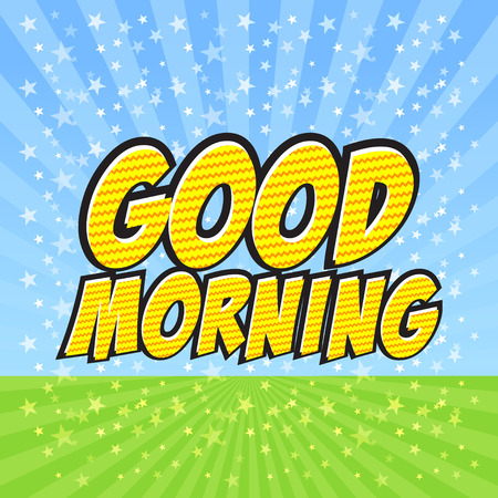 morning sky: Good Morning Comic Speech Bubble, Cartoon. Illustration