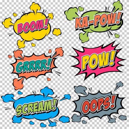 cómico: Colección multicolores Efectos sonoros cómicos Vectores