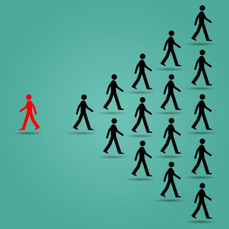 etre diff�rent: Les rouges vont dans la direction oppos�e de nombreuses personnes noires: Soyez concept design illustration vectorielle art diff�rent ou unique