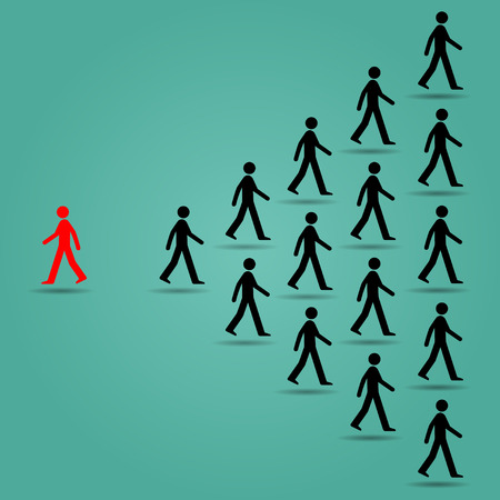follow the leader: The red ones go in the opposite direction of many black people : Be different or unique concept design vector illustration art