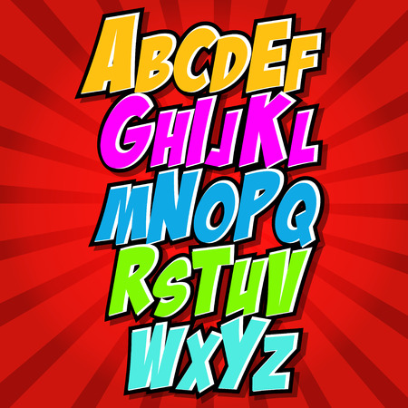 comic characters: comics style alphabet collection set
