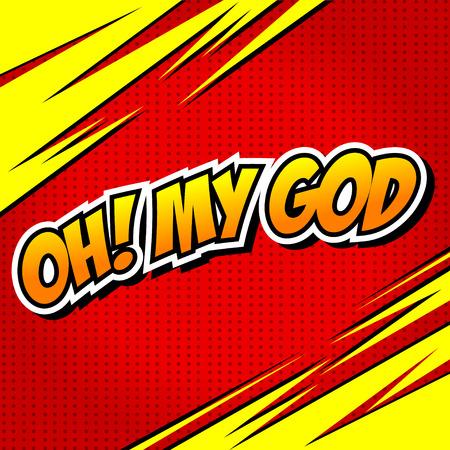 gosh: Oh! My God Comic Speech Bubble, Cartoon. Illustration