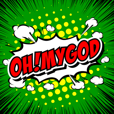 abbreviated: Oh! My God Comic Speech Bubble, Cartoon. Illustration