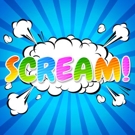 Scream! Comic Speech Bubble, Cartoon. Illustration