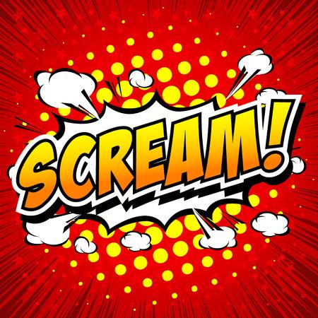 scream: Scream! Comic Speech Bubble, Cartoon. Illustration