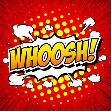whoosh: WHOOSH !- Comic Speech Bubble, Cartoon. Illustration