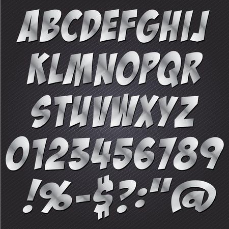 metal letters: Comics Metal letters style alphabet collection set.