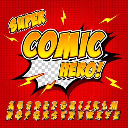 fx: Comic alphabet set. Letters, for kids illustrations, websites, comics, banners.
