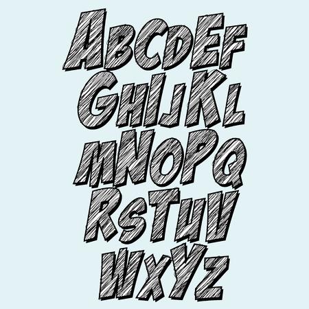 Lettertype Schets alfabetverzameling.