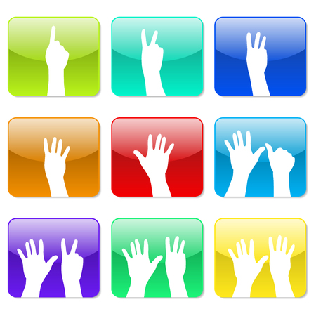 six: White hands counting from 1 to 9 with fingers icon illustration Illustration